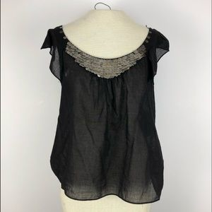 Tops - NWT Adrianna Papell size 10 black blouse bead detl
